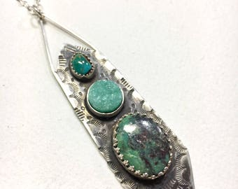 Turquoise Pendant Necklace, Turquoise and Drusy, Jewelry, Southwestern Jewelry