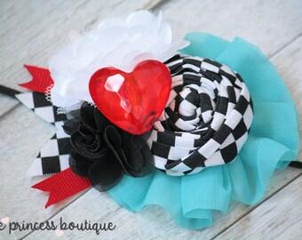 Wonderland - Headband, Baby Headband, Photography Prop, Couture Headband, Alice Headband, Alice in Wonderland, Halloween, Rolled Rosette