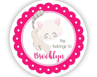 Cat Kids Personalized Stickers - Hot Pink Kitten Stickers, White Cat Name Tag, Gray Kitten Name Label Stickers - Back to School Name Labels