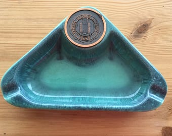 Mid Century Hyde Park Aqua Teal Turquois Roseville Pottery Triangle Ashtray w/ Copper Coin Emblem for Eastern IL University