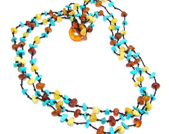 Amber, Turquoise Sterling Silver Necklace - weight 19.20g - code 2-cze-16-27