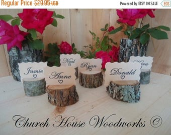 SALE 30 rustic place card holders, tree card holders, place holders, rustic wedding decor, tree stump, rustic wood place card holder