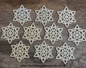 3 inch Snowflake Wood Christmas Ornaments- 10 pack Style 3 -  DIY Wooden Christmas Crafts Ornament Making Supplies