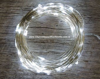 100 LED 33 ft Battery Operated Fairy Lights, 10M 33 feet,  Rustic Wedding Decor, Room Decor, Cool White on Silver Wire Strand