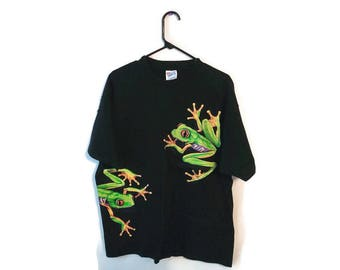 FROG T-shirt tee shirt size XL black  2 awesome frogs wrap around the back