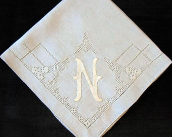 Something Blue Wedding Bride N Letter Handkerchief Initial Monogrammed Embroidery