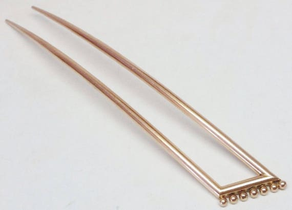 Beautiful......Antique / Victorian 14k Rose Gold Large Hair Pin...
