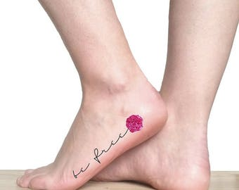 Be free quote temporary tattoo / pink peony tattoo / floral illustration tattoo / vintage flowers and quotes / botanical foot ankle tattoo