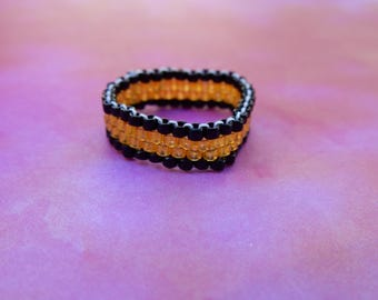 Bead Work Ring Black and Gold