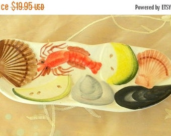 Summer Sale Seafood Ceramic Tray, Dish,  Marked 8619, Made in Italy, Raised Pattern Lobster, Scallops, Mussel and Lemons