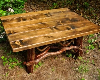 "Rustic Handmade Coffee Table Log Cabin Adirondack Furniture by J. Wade, 40"" pine FREE SHIPPING"
