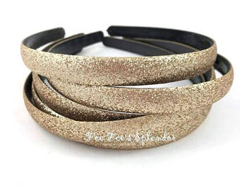 Glitter headband - Gold headband - Thick DIY headband - Hard Headband - DIY Headband supplies