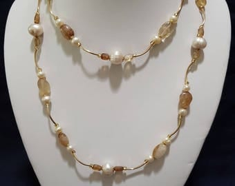 Citrine and Freshwater Pearl long necklace