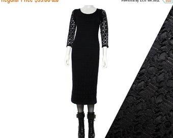 40OFF Vtg 90s Black Crochet Cutout Goth Grunge Midi Dress S-M