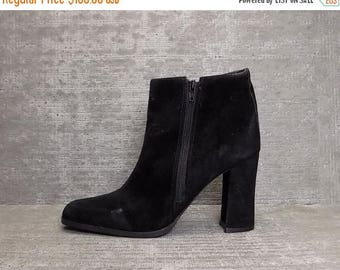 30OFF Vtg 90s Black Nubuck Leather Double Zip Minimal Ankle Boots 8.5 9
