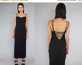 30OFF Vtg 90s Black Minimal Lace Up Backless Maxi Dress S M