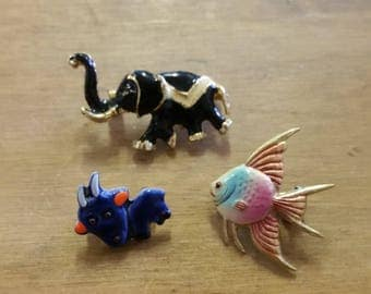 Three Little Vintage Enamelled Animal Brooches