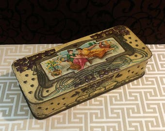 Antique Art Nouveau 1902 Biscuit Tin, Romantic Home,  Jacob, Clematis, Embossed, Antique Tin Box, Glove Box, Grecian Scene, Vintage Tin