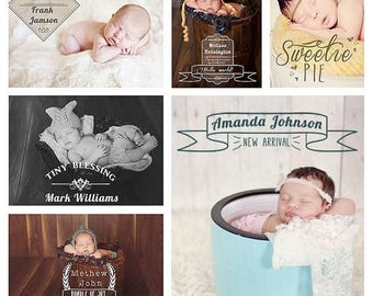 ON SALE Birth Announcement Overlays, Baby Photo Overlays for Adobe Photoshop, psd Templates, v.3