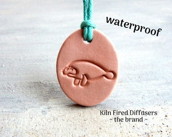 Natural Anxiety Pain Relief Clay Diffuser Pendant Manatee Terracotta Ceramic Simple Aromatherapy Therapeutic Grade Essential Scented Oils