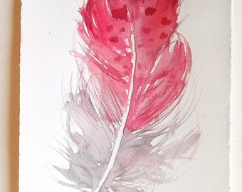 Pink Feather painting, Watercolour feather, feather illustration, Feather wall art, Minimalist art, Home and Living, Small watercolours 7x11