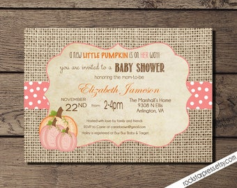 Pink Little Pumpkin Girl Baby Shower Invitations  DIY Printable Rustic  Burlap Autumn Shower Invitations _1004