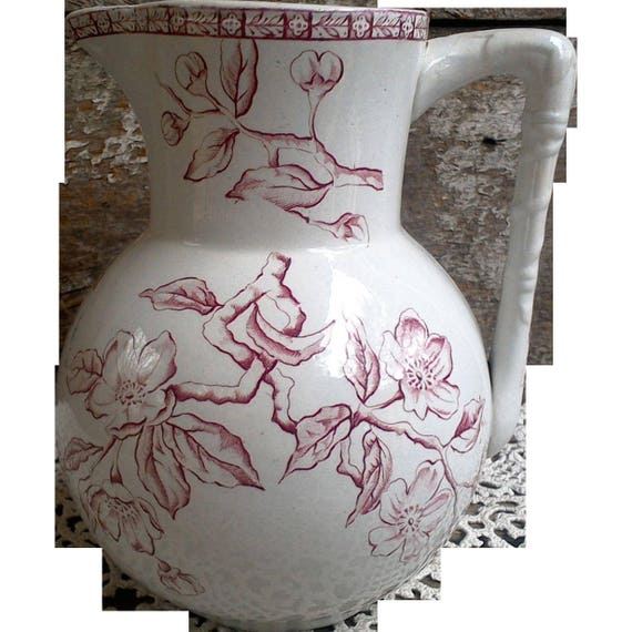 """Antique Ironstone Pitcher, Early 1800s, Pottery Jug, Pitcher, Aesthetic Movement, Floral, Serving, Bamboo Handle Design, 6 1/2"""" tall"""