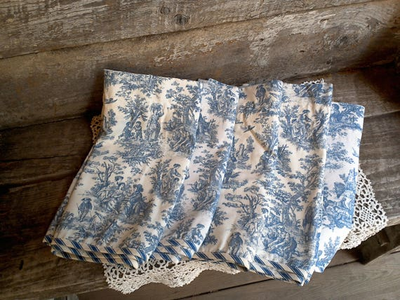 Waverly Valanece, Lined, SET of 5, Blue Toile, French Inspired Country Valances, Linens, Window Curtains, Cotton, English, Window Treatments