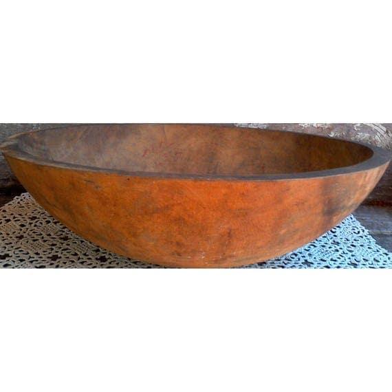 Antique primitive wooden dough bowl large primitive farm house wooden dough bowl housewarming gift wedding gift kitchen decor fruit bowl