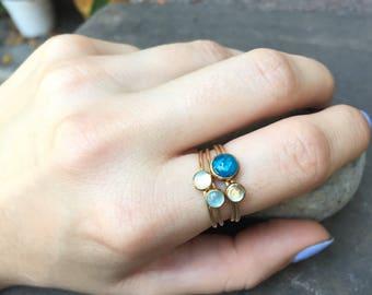 Apatite, Moonstone and Aquamarine Stacking Rings
