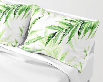 Palm Leaf Pillow Shams, Set of 2, palm leaf pillow sham, palm leaf pillow, palm leaf case, palm leaf cover, palm leaf pillows