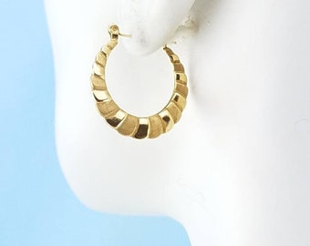 14k solid yellow gold and brushed gold hoop earrings 1 in