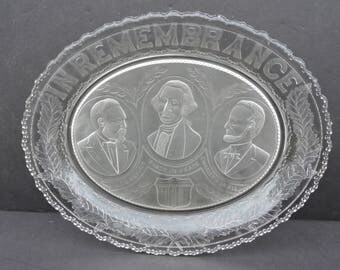EAPG 1881 In Remembrance of Presidents Washington Lincoln Garfield Glass Bread Tray Platter