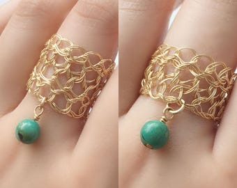 Gold Turquoise Ring | Crocheted jewelry ring | Green gold rings |  Gold filigree wire ring