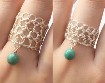 Turquoise Ring Sterling Silver | Wire crochet jewelry | Silver crochet ring | December birthstone