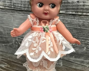 Vintage Kewpie Doll Celluloid Flapper Collectible Doll Cute Lace Outfit/Dress/Made in Occupied Japan Carnival