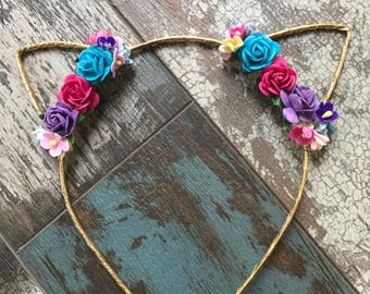 Floral Cat Ears, Cat Ear Headband, Floral Cat Ear Headband