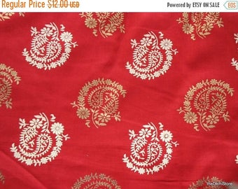 Flat 40% Off Red Cotton Fabric with Paisley Block Print by Yard