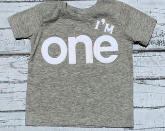 First Birthday// I'm One//Boy//Shirt//Photo Prop//Birthday Shirt//Baby Boy//READY TO SHIP