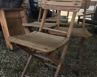 Vintage Folding Wooden Chairs