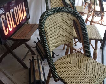 French Wicker and Bamboo Bistro Chairs
