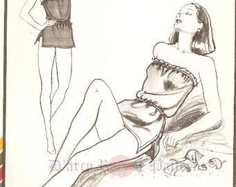 Stretch & Sew 1336 Vintage 1980s Blouson Strapless or Camisole Swimsuit Sewing Pattern