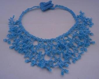 Blue Coral miyuki beads necklace