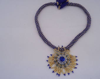 "Necklace ""Flower"" blue and gold unique"