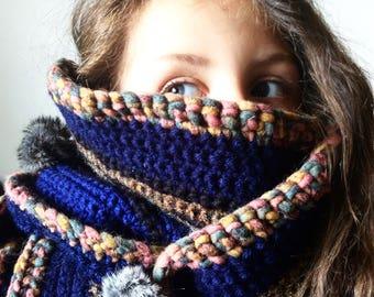 Faux fur Pom Pom blue thick long and wide scarf shawl wrap / Eve Damon