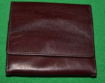 Vintage Small Wallet Genuine Leather RF Dark Burgundy Cherry 1980s