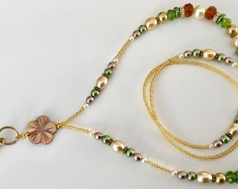 MPL001 Golden Pearly Mother Pearl  Flower Lanyard