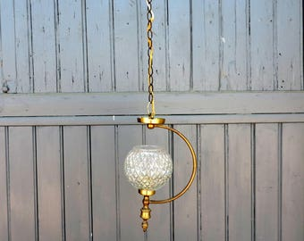 Vintage French, mid century, pendant, ceiling, light with glass shade