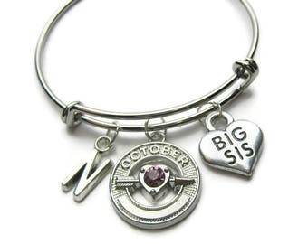 Big Sis Bangle Bracelets, Sisters Bracelets, Big Sis Bracelet, Big Sister Bracelet, Sisters Bangles, Birthstone Bangles, Personalized