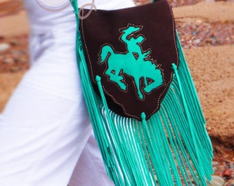 Brown And Turquoise Suede Leather Shoulder Bag, Brown Leather Bag, Turquoise Leather Bag, Hippie Bag, Boho Bag, Cowgirl Bag, Cowboy Bag